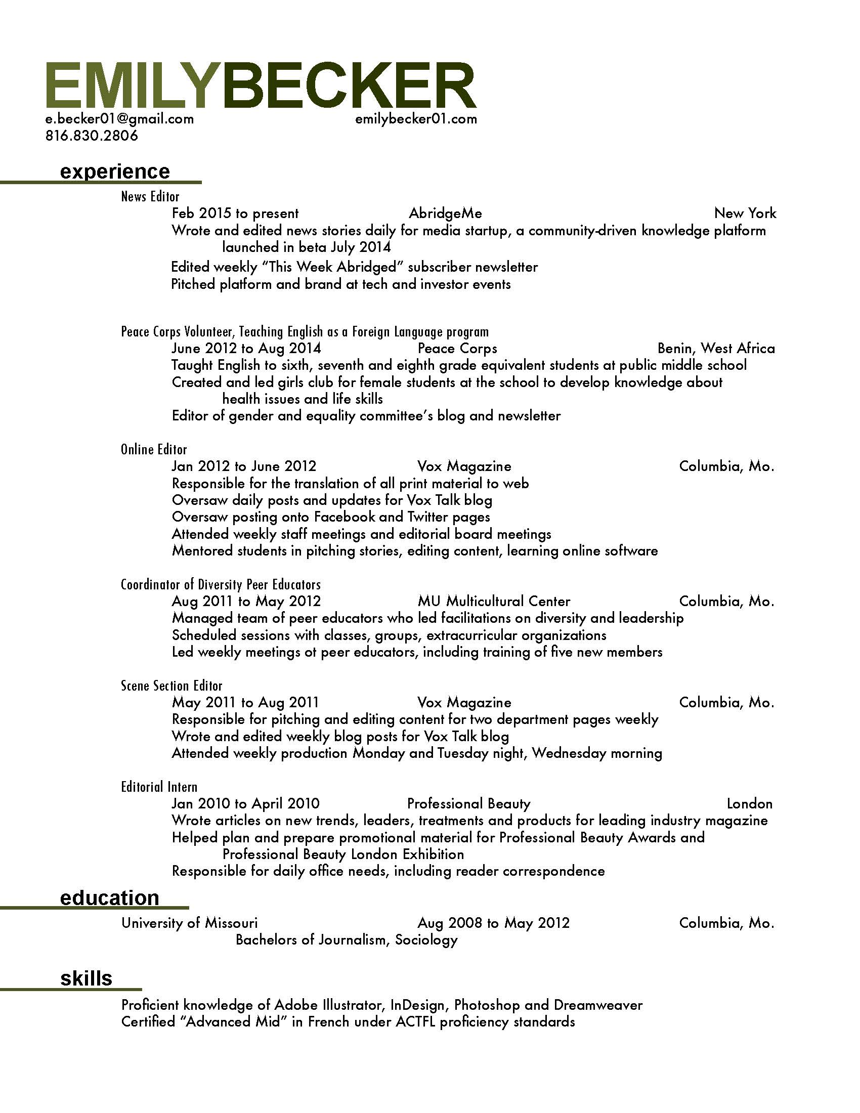 peace corps resume sample - Peace Corps Resume